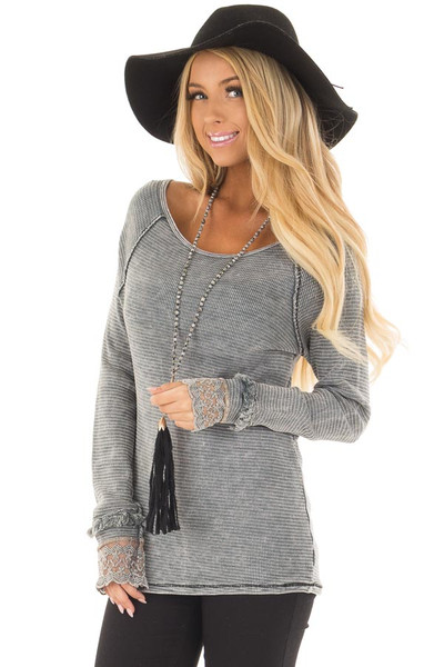 Grey Mineral Wash Ribbed Knit Top with Lace Cuffs front closeup