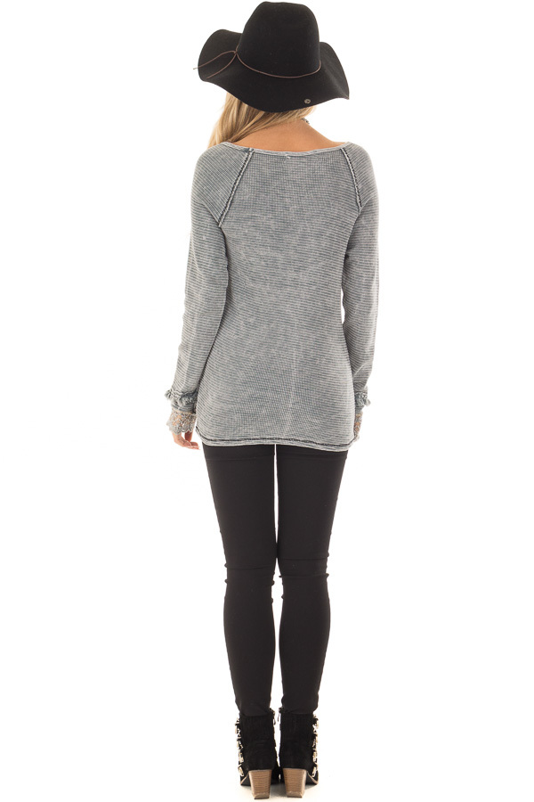Grey Mineral Wash Ribbed Knit Top with Lace Cuffs back full body