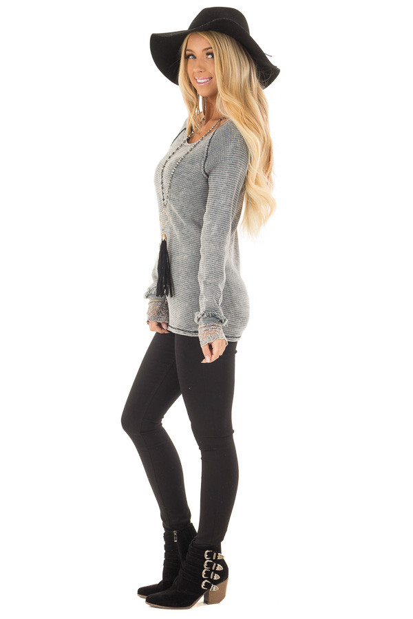 Grey Mineral Wash Ribbed Knit Top with Lace Cuffs side full body