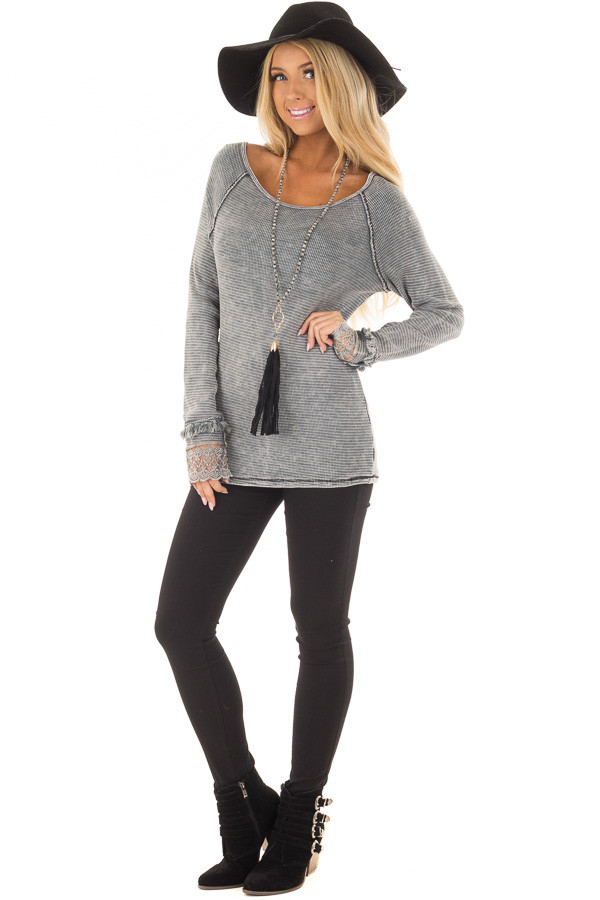 Grey Mineral Wash Ribbed Knit Top with Lace Cuffs front full body