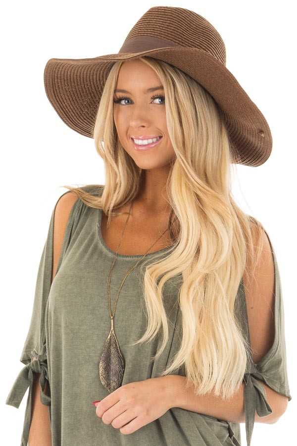 Brown Wide Brim Panama Hat with Shapeable Brim front view