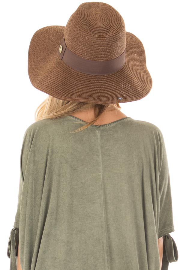 Brown Wide Brim Panama Hat with Shapeable Brim back view