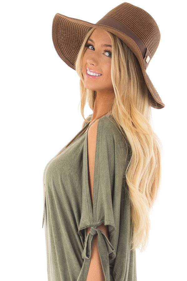 Brown Wide Brim Panama Hat with Shapeable Brim side view