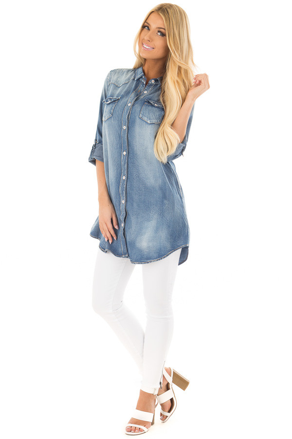 Faded Denim Tunic Button Up Shirt with Roll Up Sleeves front full body