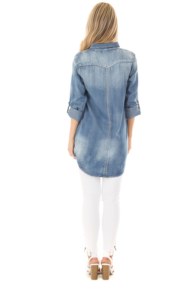 Faded Denim Tunic Button Up Shirt with Roll Up Sleeves back full body