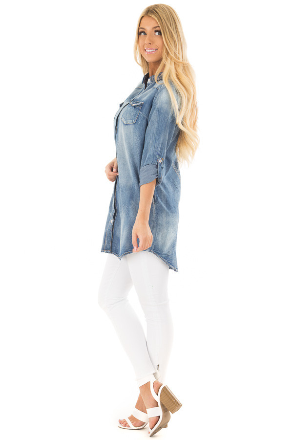Faded Denim Tunic Button Up Shirt with Roll Up Sleeves side full body