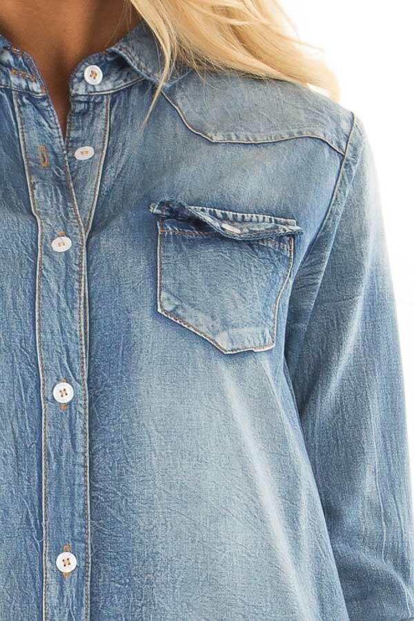 Faded Denim Tunic Button Up Shirt with Roll Up Sleeves front detail