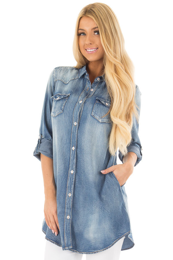 Faded Denim Tunic Button Up Shirt with Roll Up Sleeves front closeup