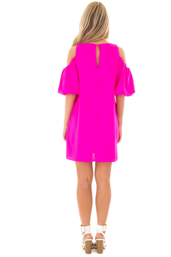 Neon Pink Cold Shoulder Dress with Bubble Sleeves back full body