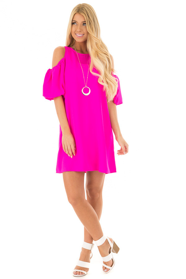 Neon Pink Cold Shoulder Dress with Bubble Sleeves front full body