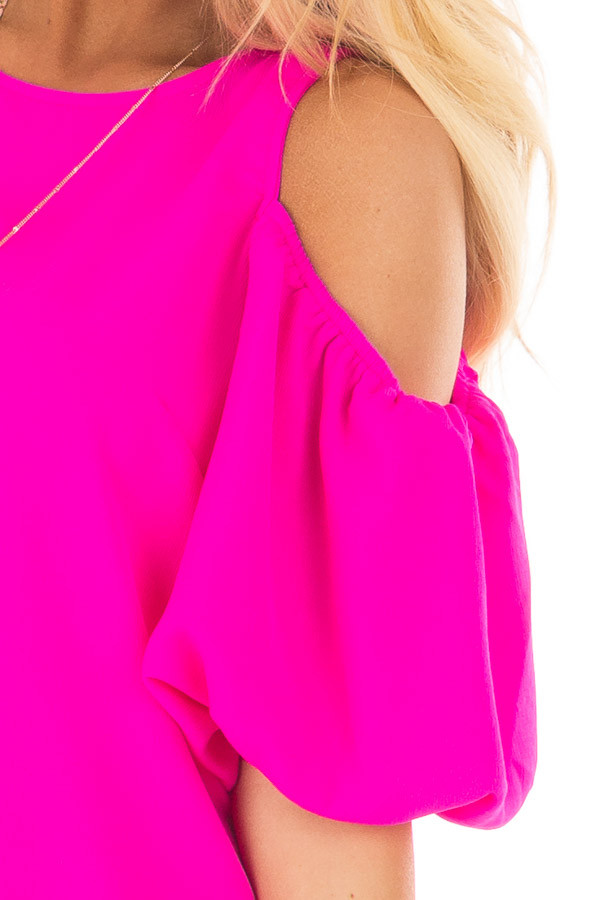Neon Pink Cold Shoulder Dress with Bubble Sleeves front detail