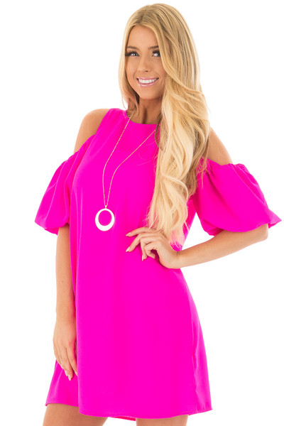 Neon Pink Cold Shoulder Dress with Bubble Sleeves front closeup