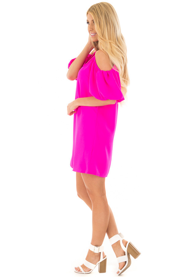 Neon Pink Cold Shoulder Dress with Bubble Sleeves side full body