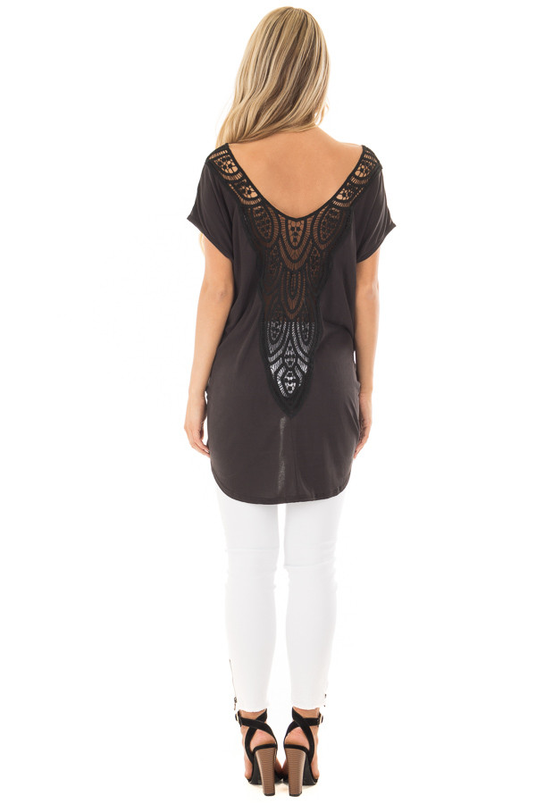 Black V Neck Top with Front Twist and Sheer Lace Detail back full body