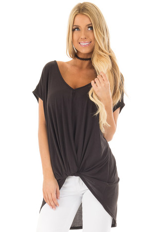 Black V Neck Top with Front Twist and Sheer Lace Detail  front closeup