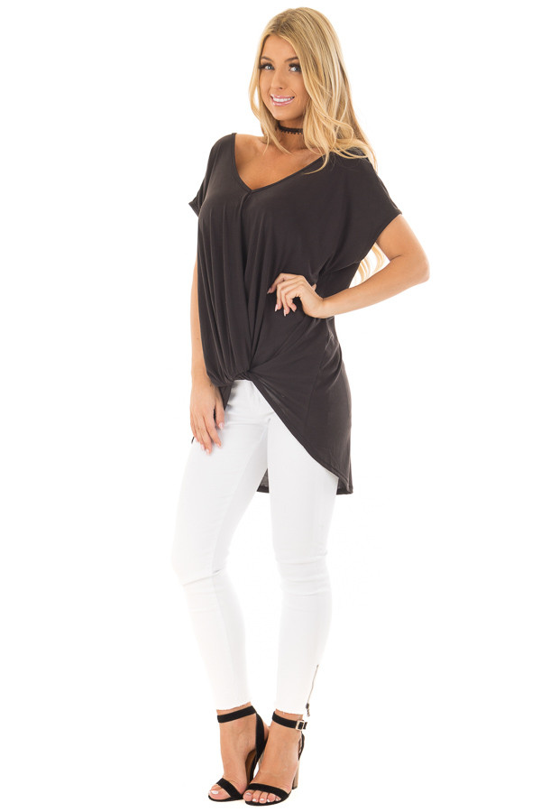 Black V Neck Top with Front Twist and Sheer Lace Detail front full body