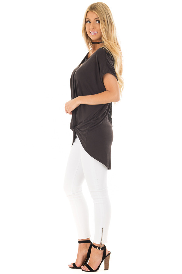 Black V Neck Top with Front Twist and Sheer Lace Detail side full body