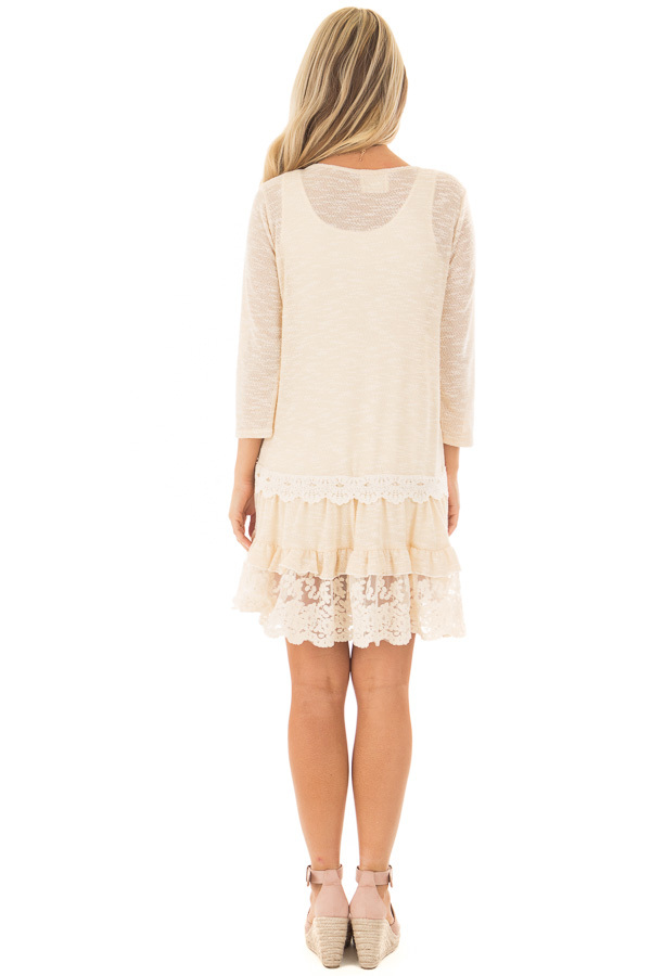 Cream Two Tone Tiered Lace Dress back full body