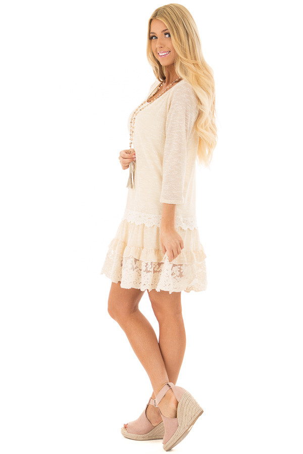Cream Two Tone Tiered Lace Dress side full body