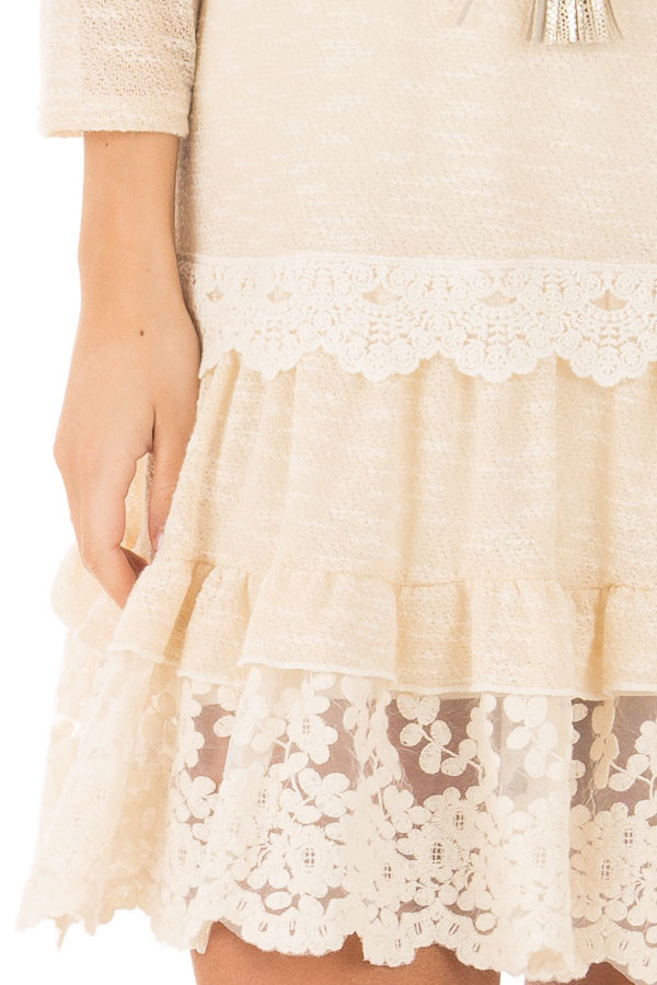 Cream Two Tone Tiered Lace Dress front detail