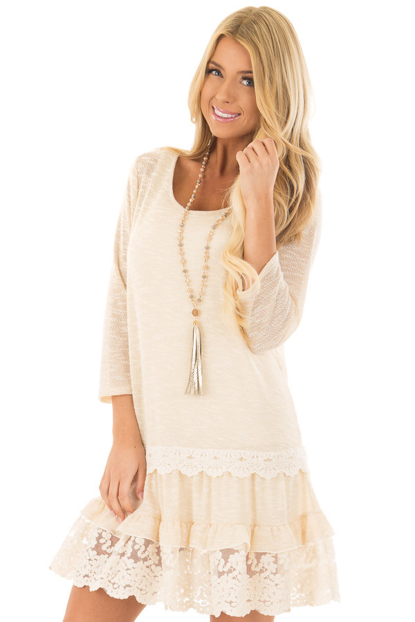 Cream Two Tone Tiered Lace Dress front closeup