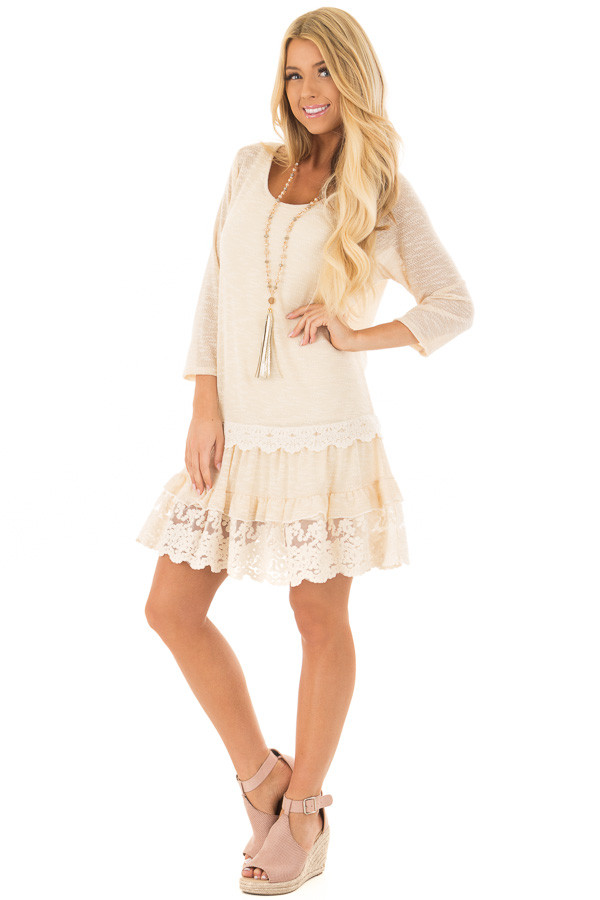 Cream Two Tone Tiered Lace Dress front full body