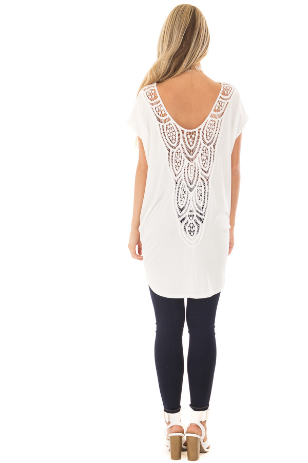 Ivory V Neck Top with Front Twist and Sheer Lace Detail back full body