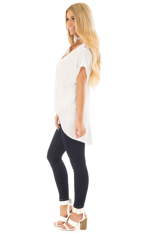 Ivory V Neck Top with Front Twist and Sheer Lace Detail side full body