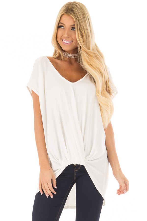 Ivory V Neck Top with Front Twist and Sheer Lace Detail front closeup