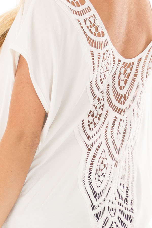 Ivory V Neck Top with Front Twist and Sheer Lace Detail back detail