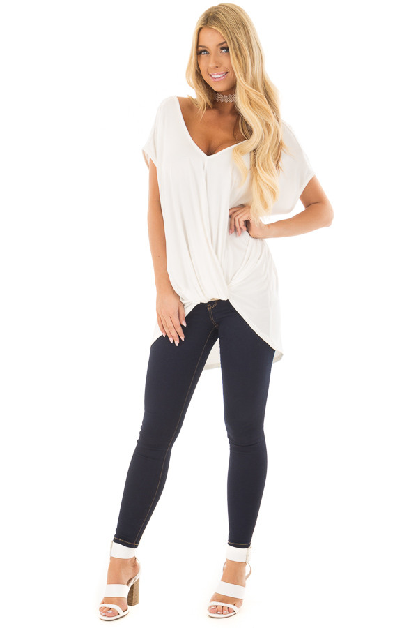 Ivory V Neck Top with Front Twist and Sheer Lace Detail front full body