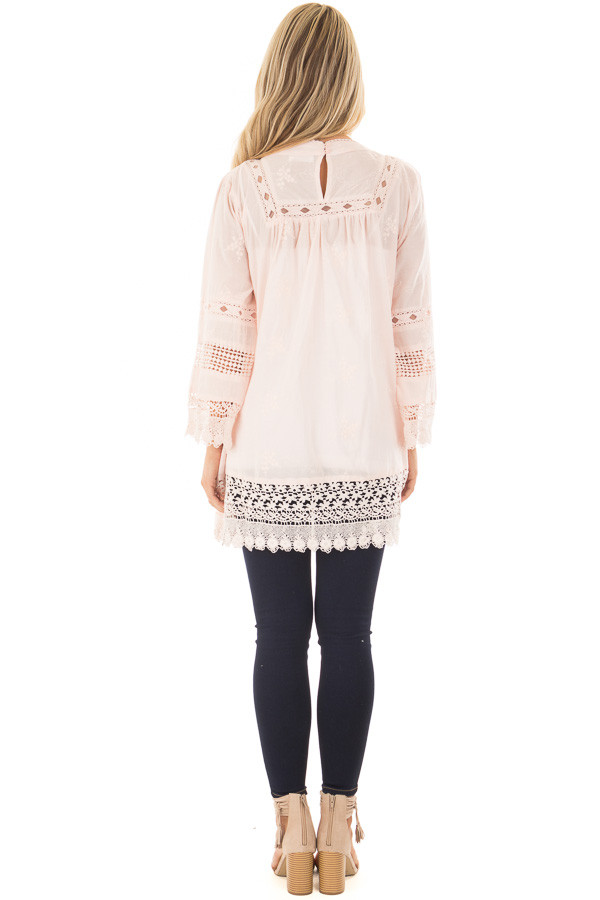 Blush Tunic with Crochet Lace Details back full body