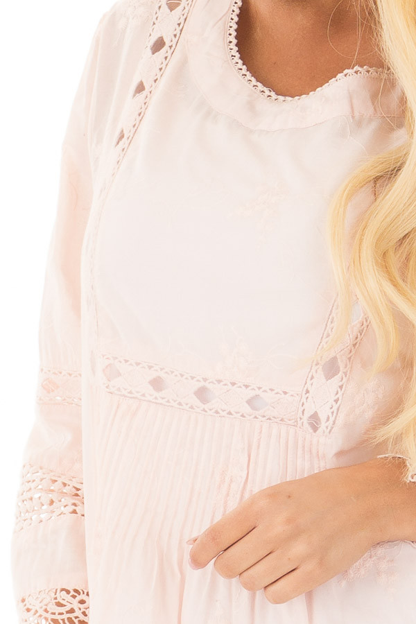 Blush Tunic with Crochet Lace Details front detail