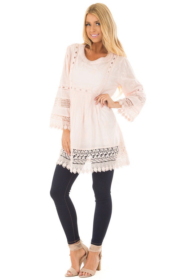 Blush Tunic with Crochet Lace Details front full body