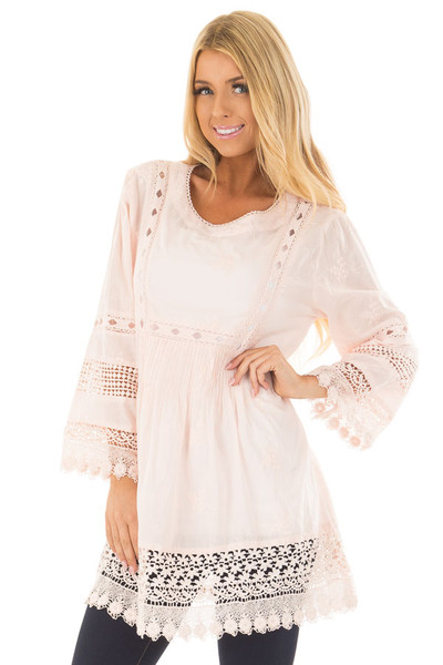 Blush Tunic with Crochet Lace Details front closeup