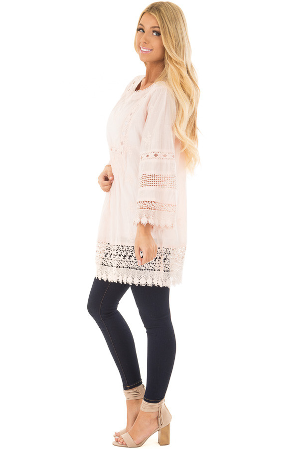 Blush Tunic with Crochet Lace Details side full body