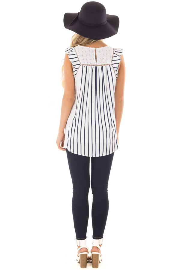 White and Navy Striped Top with Sheer Lace Contrast back full body