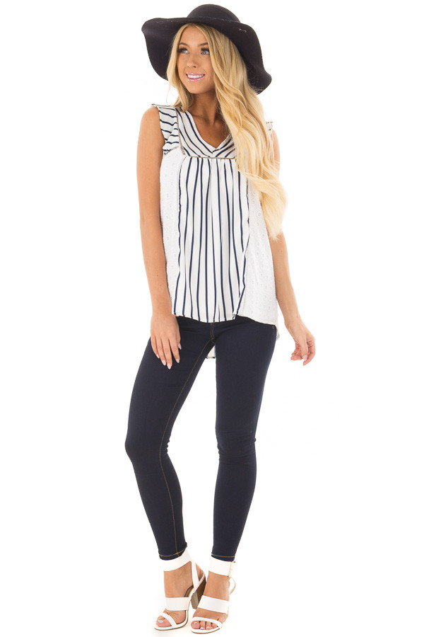 White and Navy Striped Top with Sheer Lace Contrast front full body