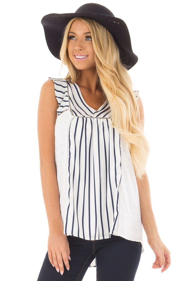 White and Navy Striped Top with Sheer Lace Contrast front closeup