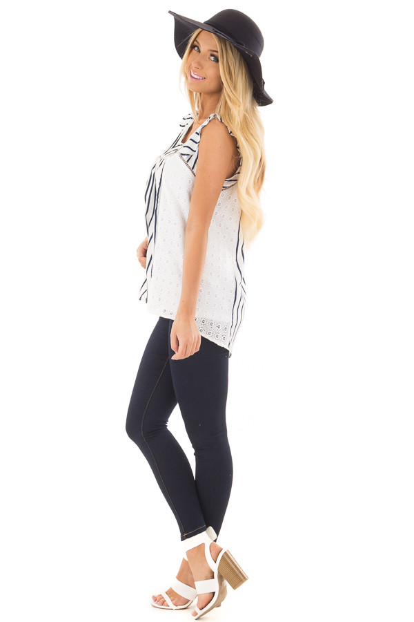 White and Navy Striped Top with Sheer Lace Contrast side full body