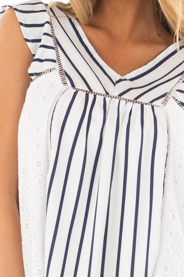 White and Navy Striped Top with Sheer Lace Contrast front detail