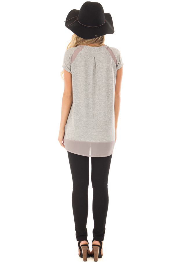 Heather Grey Sparkle Top with Sheer Contrast back full body