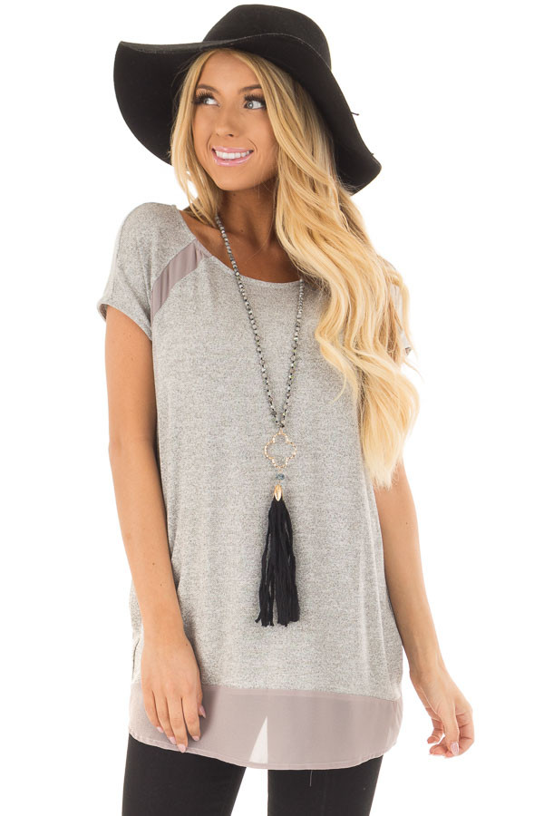 Heather Grey Sparkle Top with Sheer Contrast front closeup