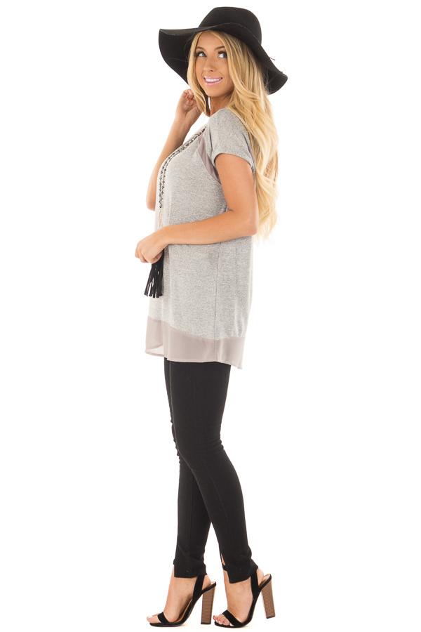 Heather Grey Sparkle Top with Sheer Contrast side full body