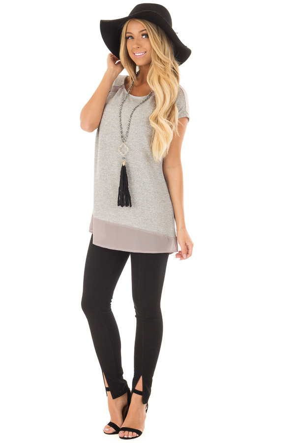 Heather Grey Sparkle Top with Sheer Contrast front full body