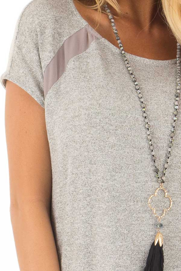 Heather Grey Sparkle Top with Sheer Contrast front detail