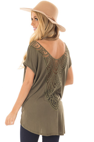 Olive V Neck Top with Front Twist and Sheer Lace Detail over the shoulder closeup