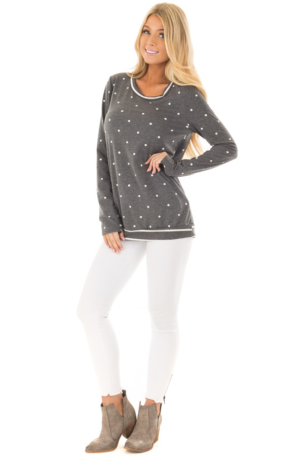Charcoal Polka Dot Top with Striped Contrast front full body