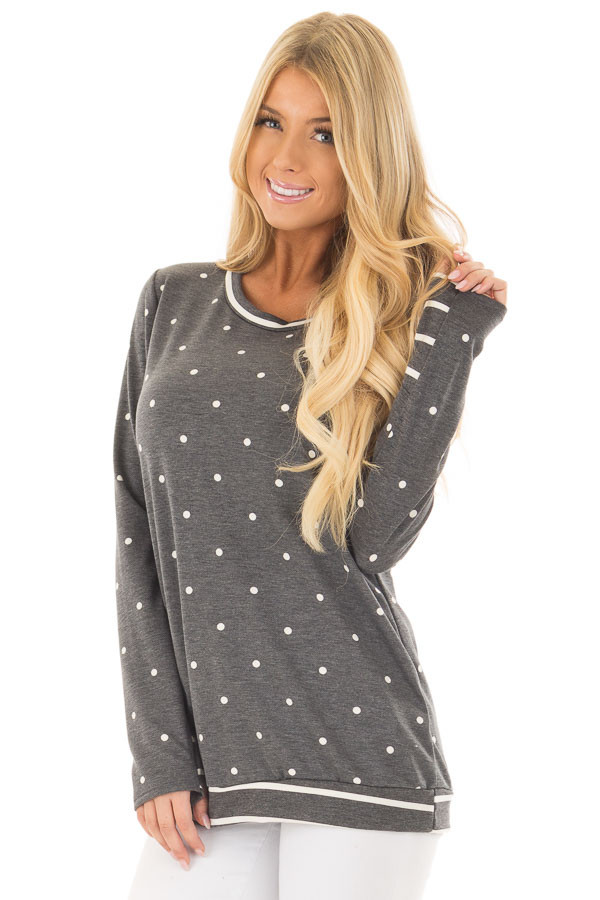 Charcoal Polka Dot Top with Striped Contrast front closeup