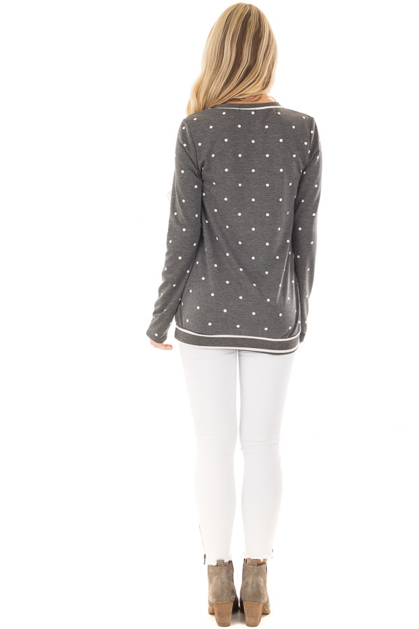 Charcoal Polka Dot Top with Striped Contrast back full body